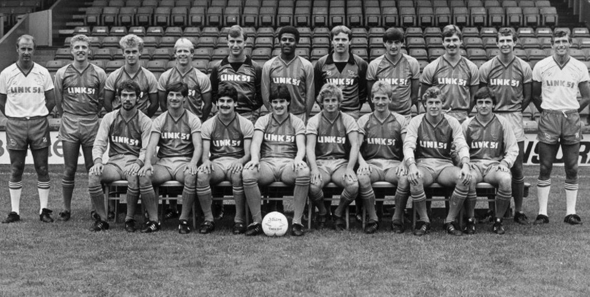 Popular former Shrewsbury fans' favourite Wayne Williams, pictured front, second left, has passed away aged 56