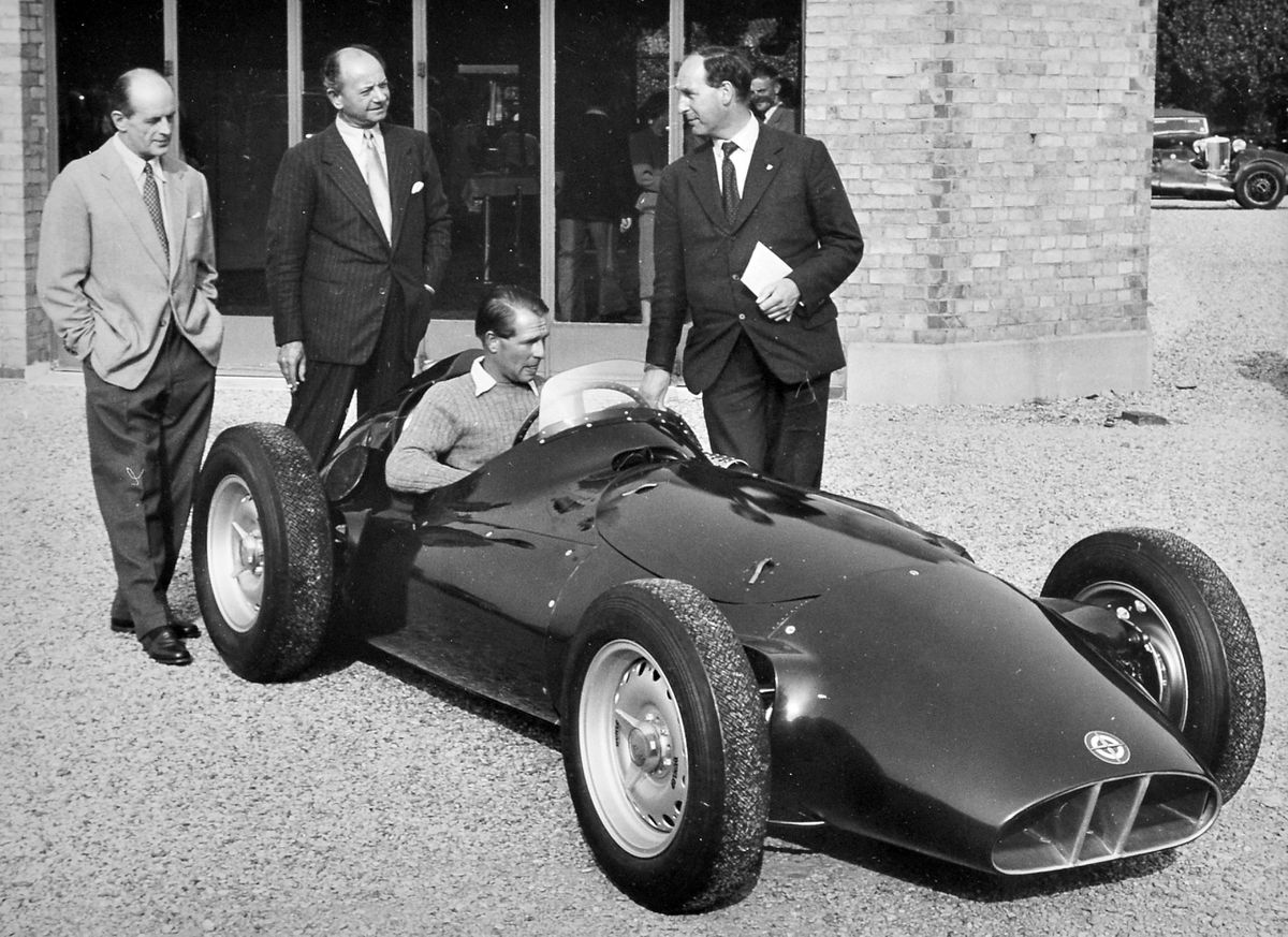 Gerry loved motor sport. This is the unveiling of a BRM racing car in 1955 with Peter Collins at the wheel.