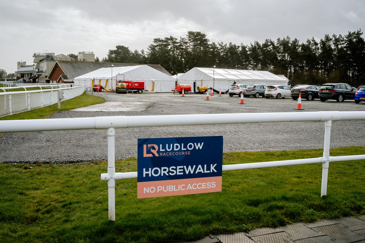 The vaccine hub at Ludlow Racecourse