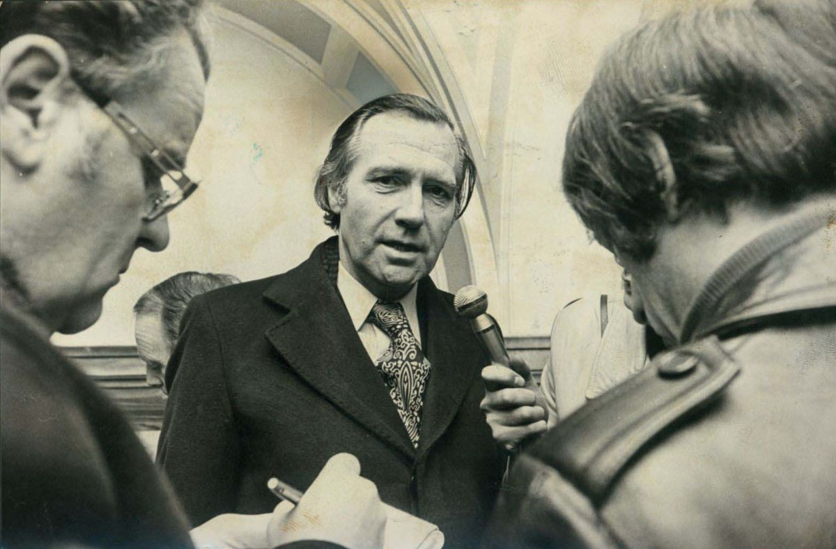 John Stonehouse being interviewed in Walsall in March 1976, before he resigned the whip
