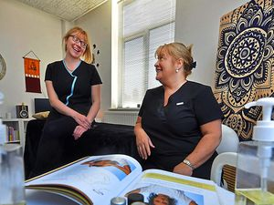 LAST COPYRIGHT SHROPSHIRE STAR STEVE LEATH 22/04/2021..Pic in Wellington, Telford at 'You in Mind', its a hollistic therapy practice, run by Sally Carter  (glasses) and Tracey McPhillips. Pic od them and procedures: Indian Head Massage, Hot Stones Therapy and Seated Acupressure..