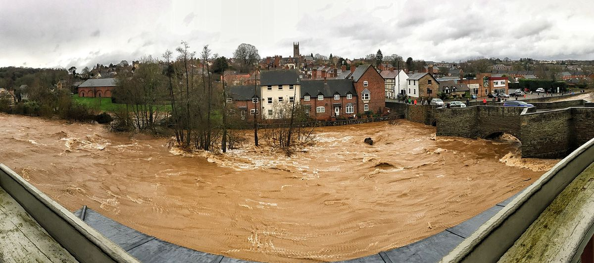 A full river next to Ludford Bridge in Ludlow after Storm Dennis. Photo: Victoria Martin