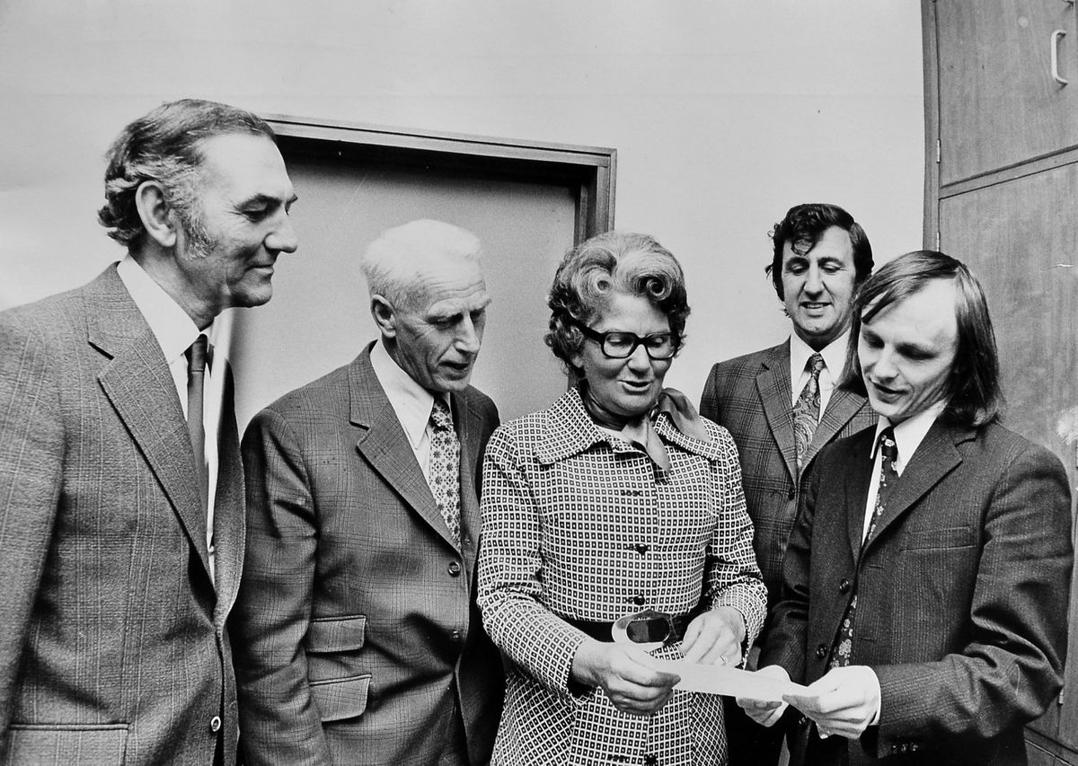 """Mrs Whitehouse was guest speaker at Walker Technical College, Wellington, on September 25, 1974, for a course titled """"Social Problems of the 70s."""" From left: college principal Vivian Morris, Ernest Whitehouse, Mary Whitehouse, Jack Wilson (adult education organiser), and course tutor Bill Parkinson."""