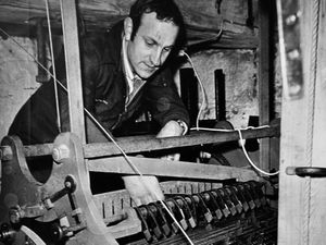 Robert Blow at work restoring the carillon in February 1974.
