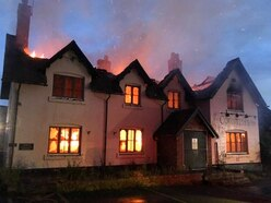 Former pub wrecked as 60 firefighters tackle blaze next to A41