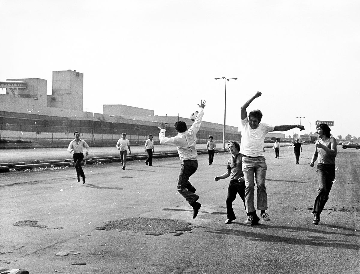 When on strike, play football. These men were passing the time while on strike from the giant Firestone factory at Wrexham in 1973.