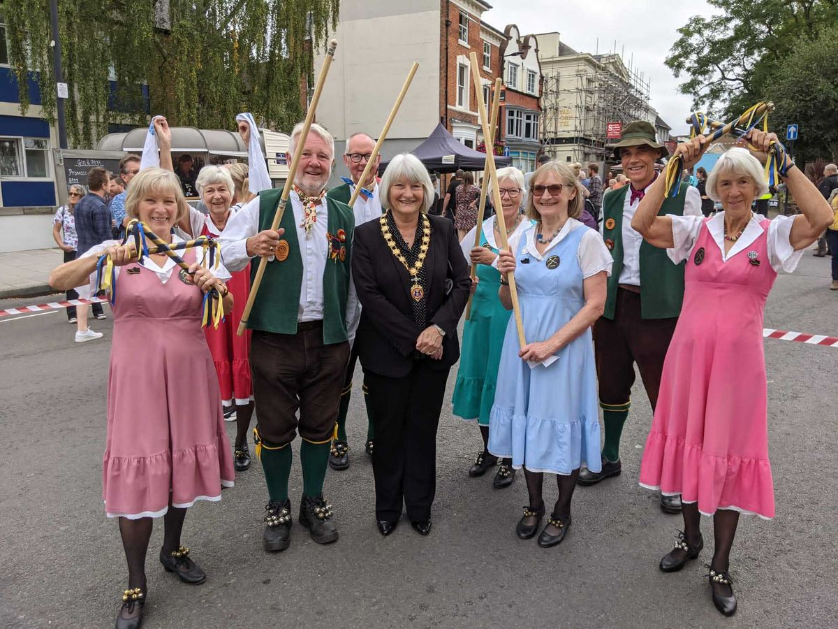Shrewsbury Morris Dancers with Newport's mayor