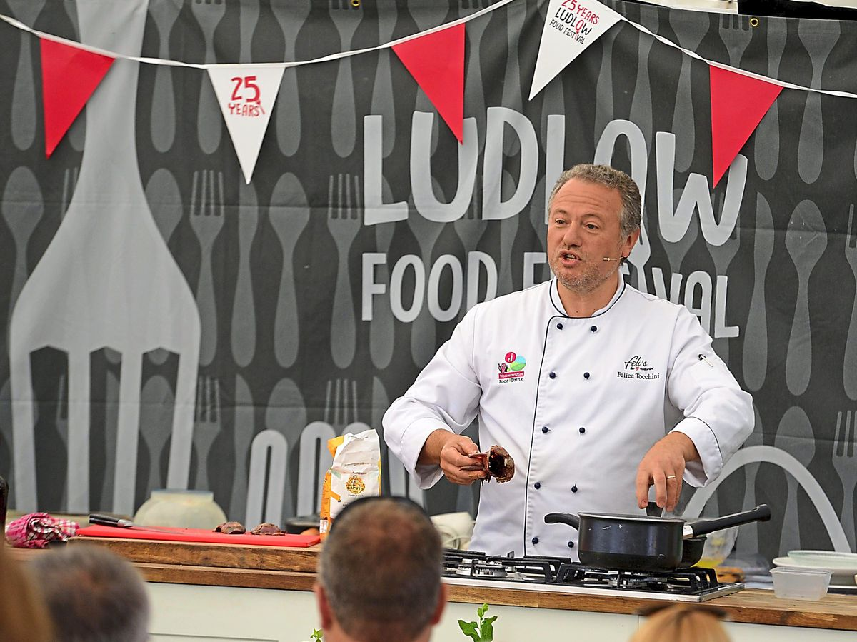 Chef Felice Tocchini showing off his cooking skills at the Ludlow Food Festival which is running all weekend