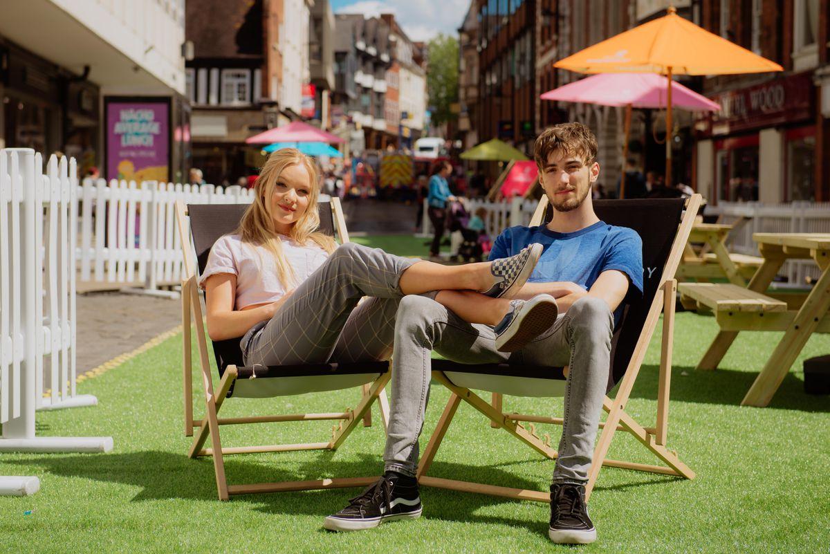 Ruth Evans and Liam O'Brian enjoying the pocket park