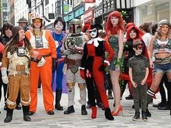 Heroes and villains turn heads at Shrewsbury's Comics Salopia cosplay march