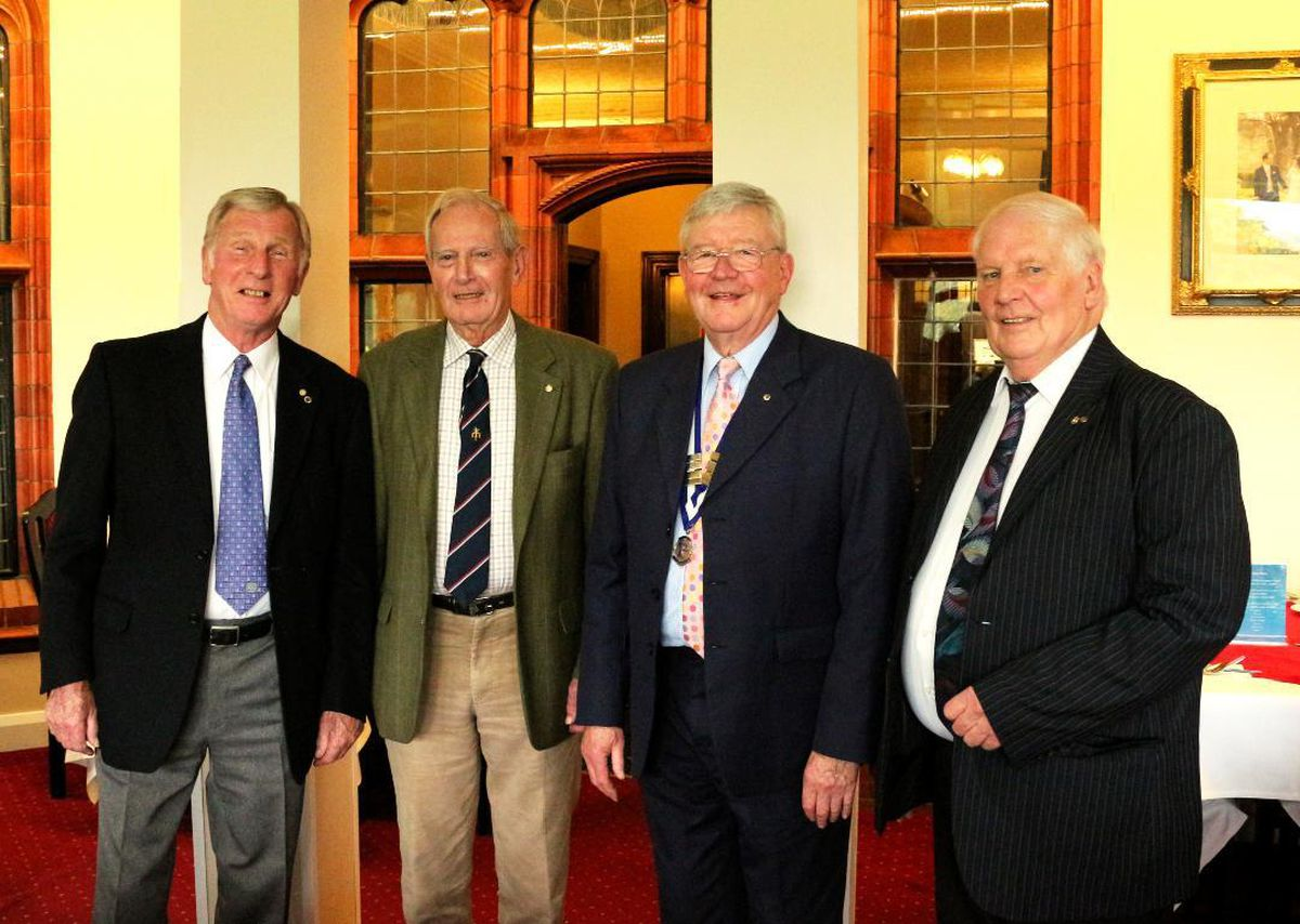 Probus founders Bob McBride, Peter Davies and Trevor Humphries with retiring club president Fred Williams at the club's annual lunch