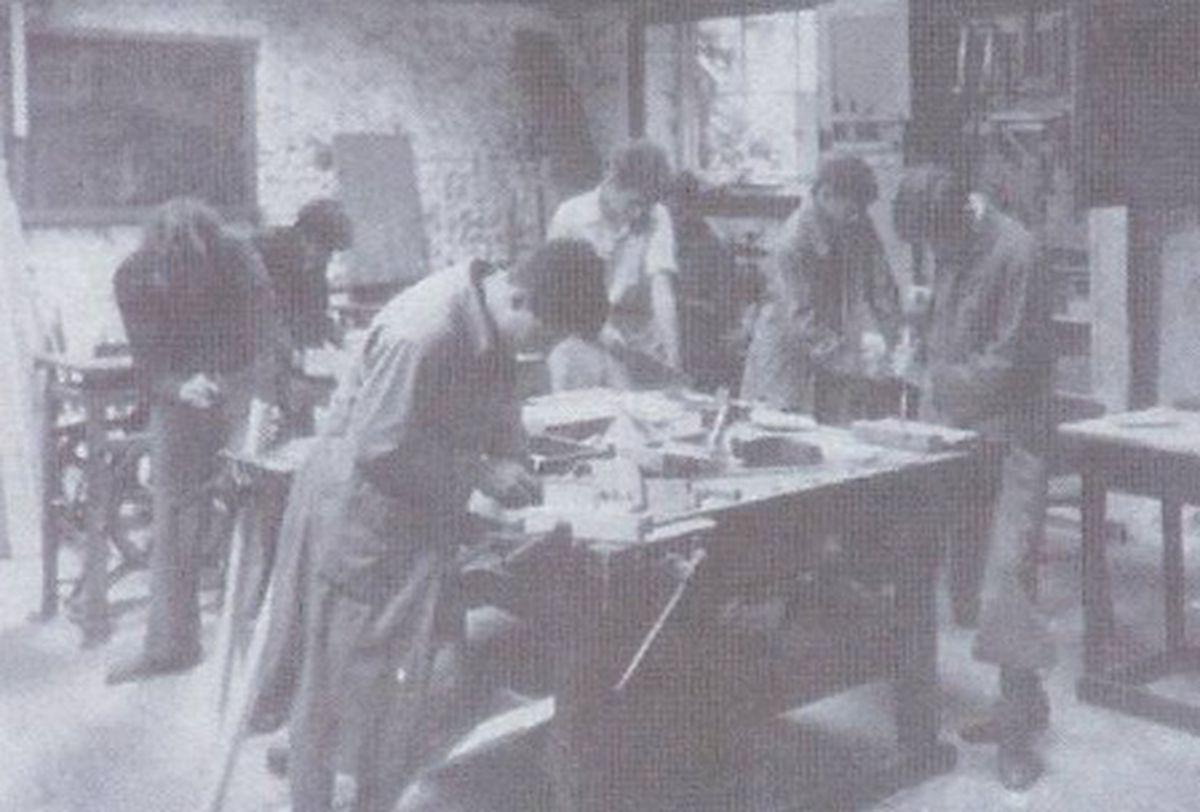 School children in the workshop