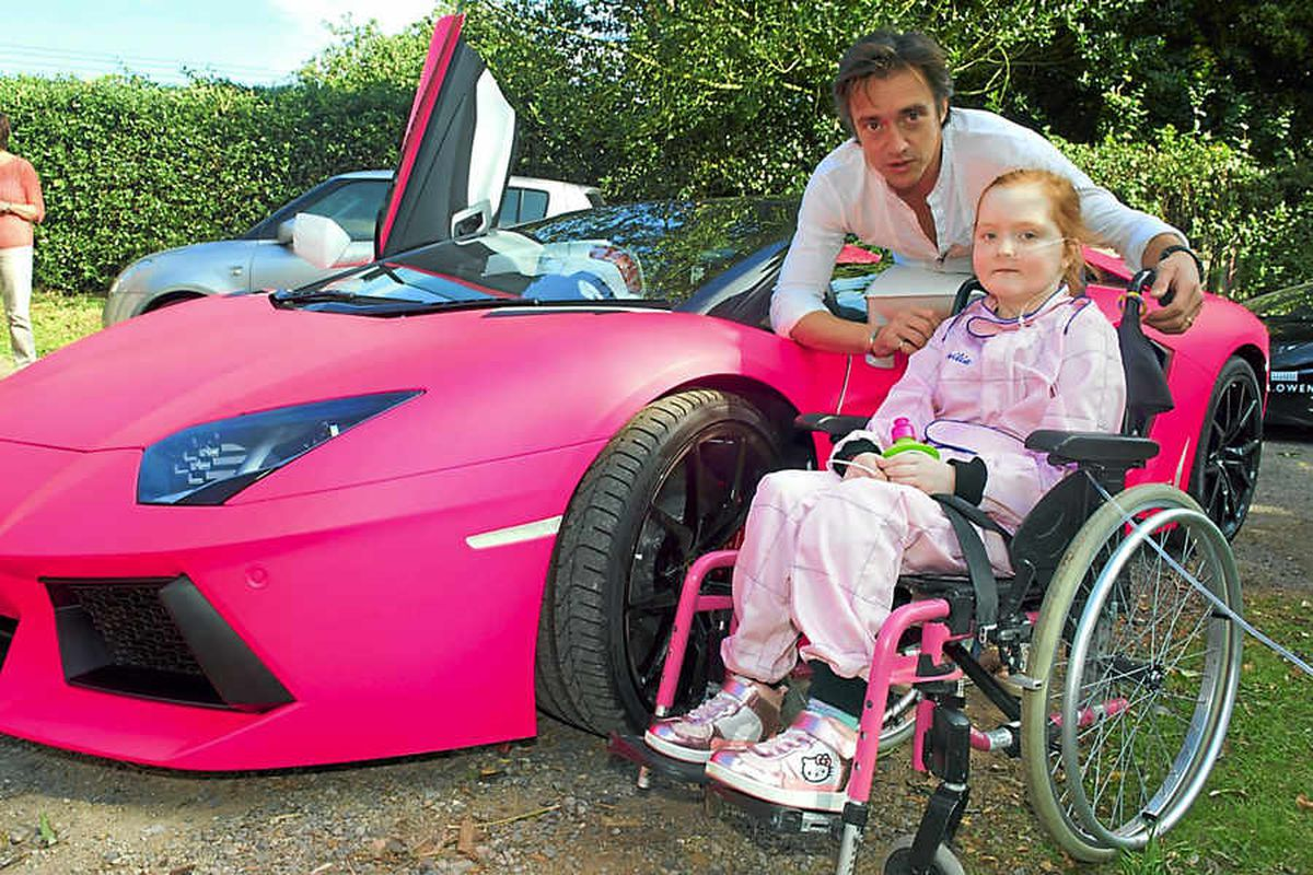 Top Gear star Richard Hammond makes Emilia Palmer's dream come true by taking her for a spin in this pink Lamborghini