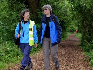 Eve Clevenger, of Wellington Walkers Are Welcome, with Kate Ashbrook on the Telford 50 Trail in 2018