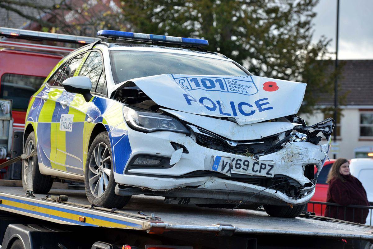 The police car involved in the crash