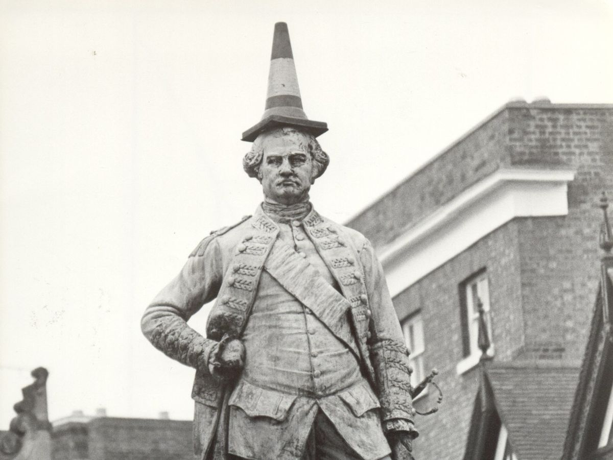 The statue has not always been treated with respect – pranksters added this headgear in December 1982