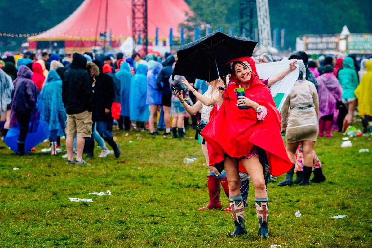 Crowds stayed in good spirits despite the evening's rain