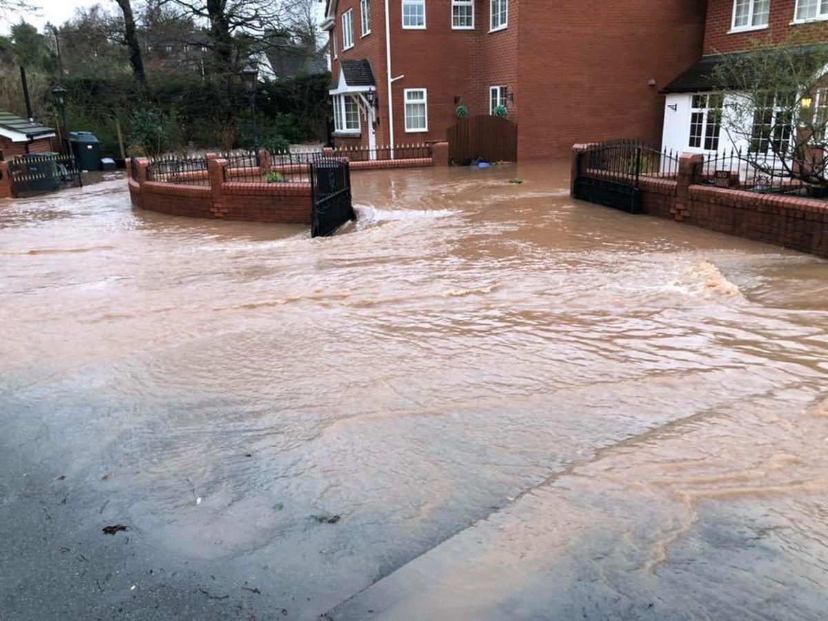 Storm Dennis flooding in Hilton, near Bridgnorth. Photo: Bridgnorth Fire Station