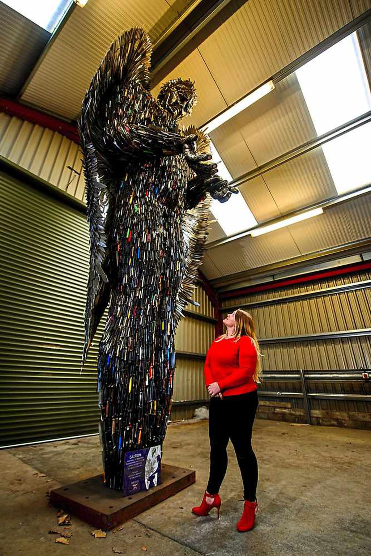 Alison Cope with the Knife Angel at the British Ironwork Centre