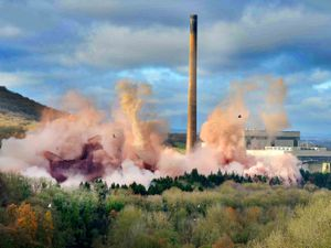 LAST COPYRIGHT SHROPSHIRE STAR STEVE LEATH 06/11/2019..Ironbridge Power Station demolition.   Pixelated a bit at top..