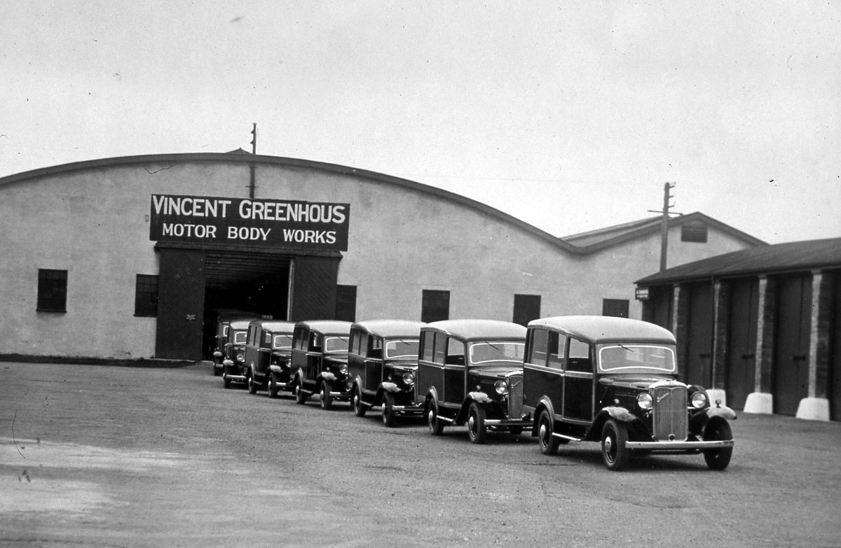 The Greenhous Body works, Harlescott, in 1935, showing Bedford shooting brakes made by Vincent Greenhous. The site at Shrewsbury was an old R.O.D. depot – that is, Royal Ordnance Depot. Picture: Roy Pilsbury.