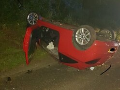 Appeal to trace driver as car flips onto roof in Shropshire border crash