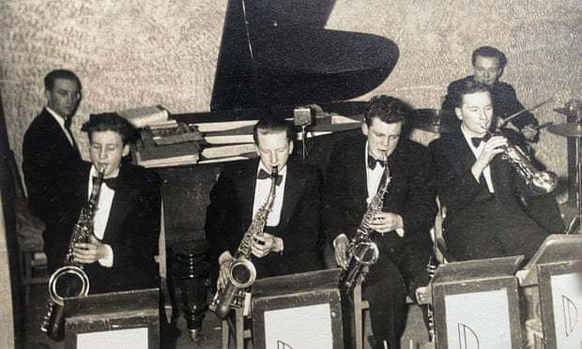 John Lloyd, front, second from right, performing with the Don Langley Dance Band in Birmingham in 1952