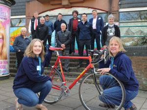 Event sponsors for the Pedal the Borders event, with (front from left) Lingen Davies Cancer Fund events officer Lizzy Coleman, and development manager Helen Knight, at Shropshire Cycle Hub, Shrewsbury.