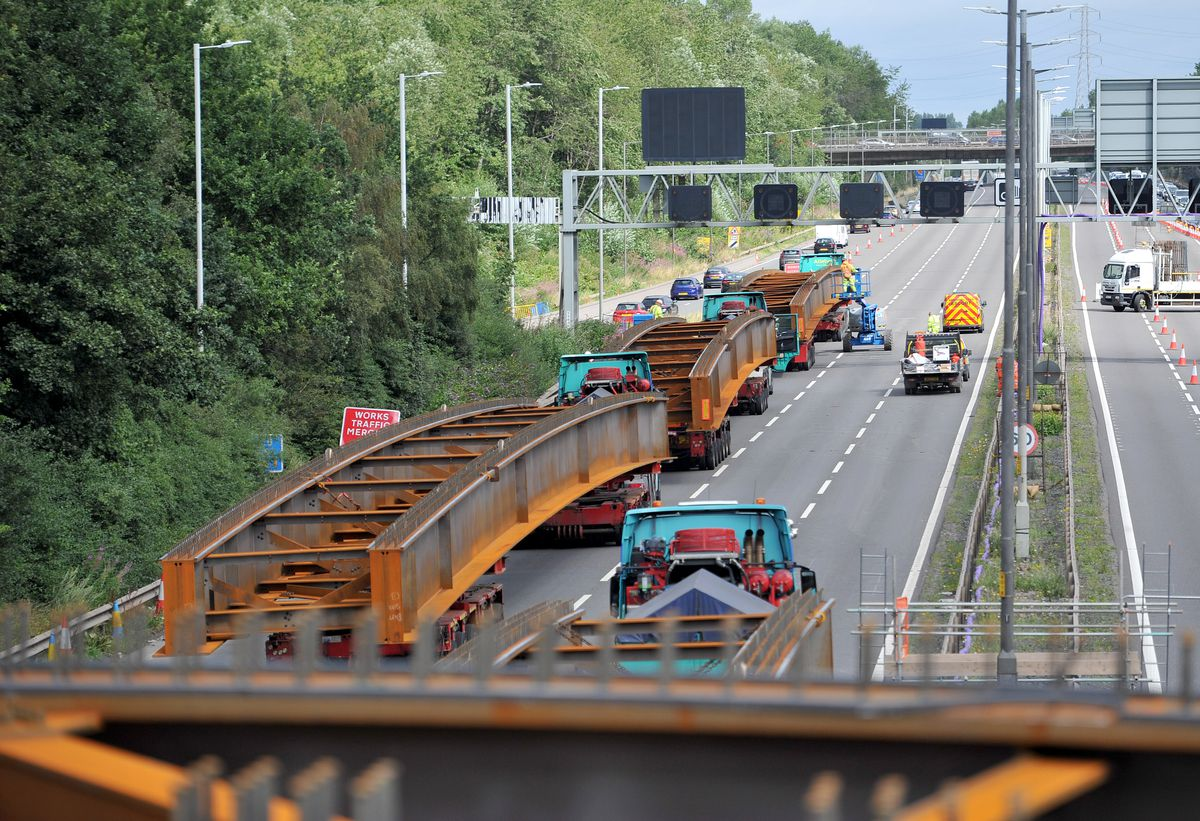 The huge beams mean the motorway has to be closed while they're lifted into place