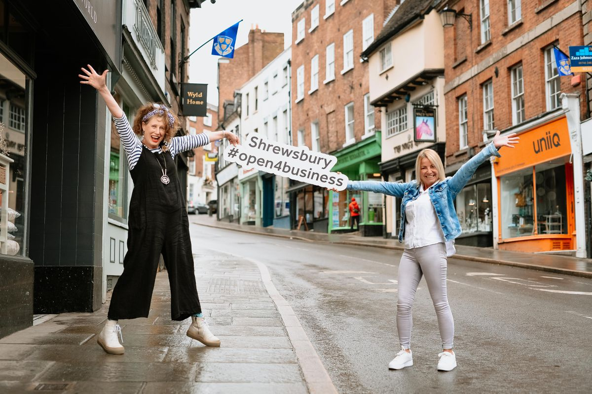 Stacey Hill from Oberon and Anna Cayiatou from Lovely Little World show that Shrewsbury is open for business