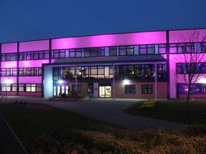 Charlton school lit up in pink