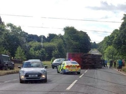 Overturned lorry blocks A41 at Tong