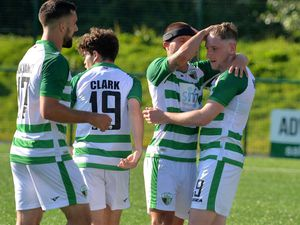 SPORT COPYRIGHT SHROPSHIRE STAR STEVE LEATH 15/07/2021.. The New Saints GC V Glentoran FC. TNS: Declan McManus scores a penalty..