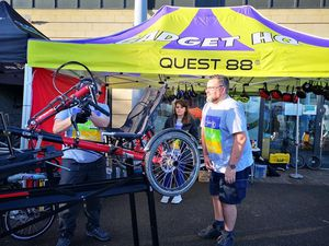 Operations manager Andrew Shilton, right, with one of the firm's mobility products