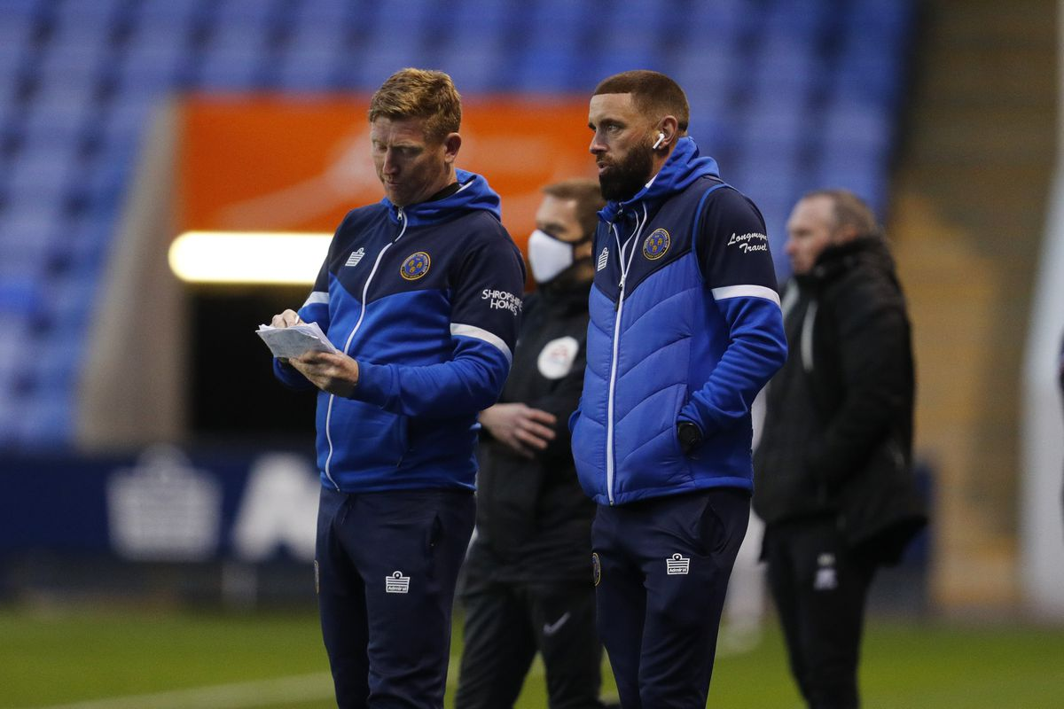 David Longwell the first team coach of Shrewsbury Town and Aaron Wilbraham the assistant manager of Shrewsbury Town. (AMA)