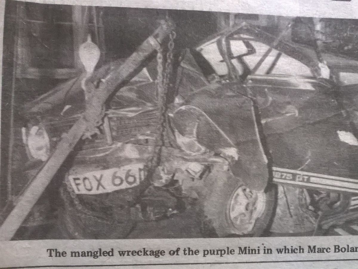 The wreckage of the purple Mini in which Bolan was killed