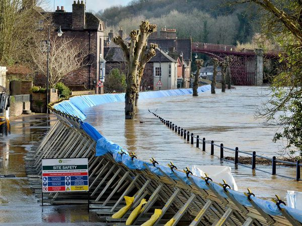 Flood barriers in Ironbridge