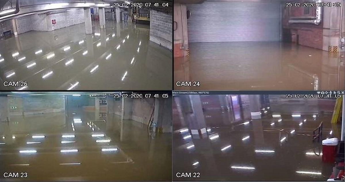 Flood water in the service yard underneath Shrewsbury's Pride Hill Shopping Centre. CCTV images from Shropshire Council.