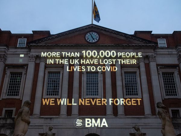 A projection in the courtyard of the British Medical Association