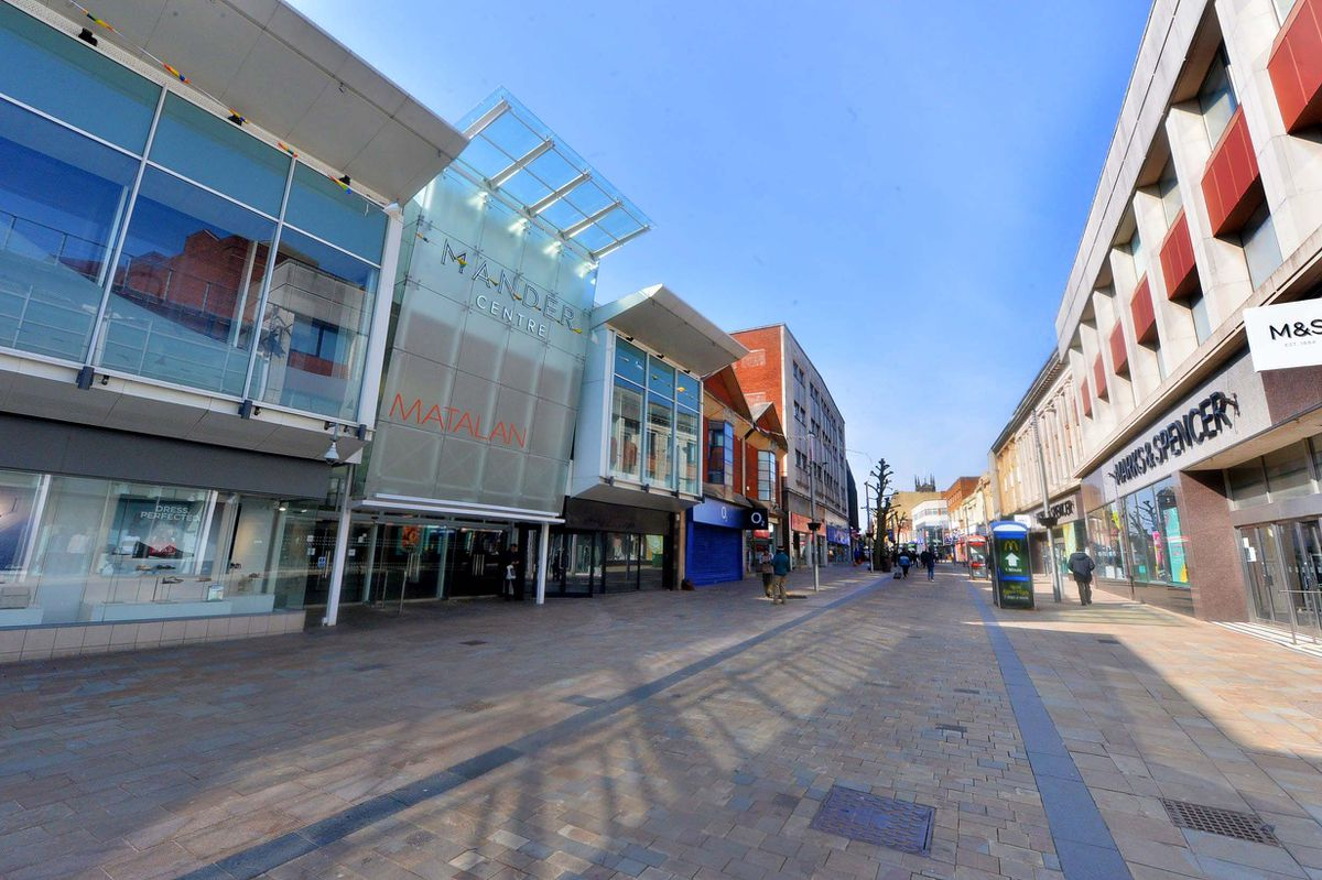 A very quiet Dudley Street in Wolverhampton city centre