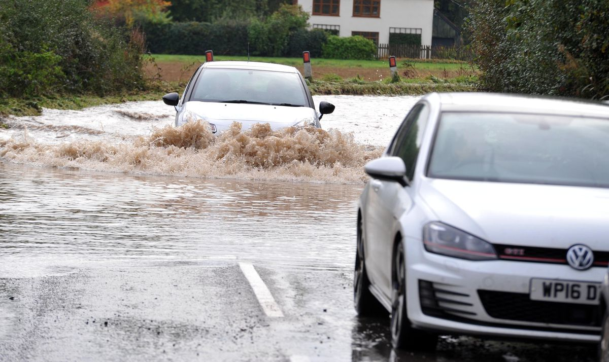The flooded B5062 just outside Roden