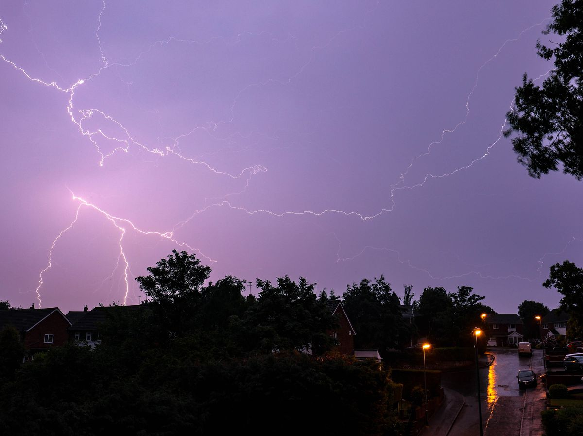 This stunning image captures the storm over Walsall last night. PICTURE: Shaun Fellows/Shine Pix