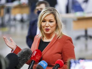 Deputy First Minister, Michelle O'Neill speaking to the media during a visit to the newly opened Covid-19 vaccination centre in the SSE Arena, Belfast (Liam McBurney/PA)