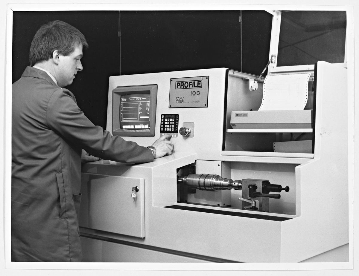 Tesa Metrology, Telford – September 16, 1997. A technician operating one of the high-tech computerised measurement machines which can measure items such as nuclear fuel pellets, disc brakes or turrets of America's heavy battle tanks.