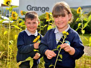 Reception children settling into The Grange School Shrewsbury, four-year-olds Cody Jones and Matilda Lloyd