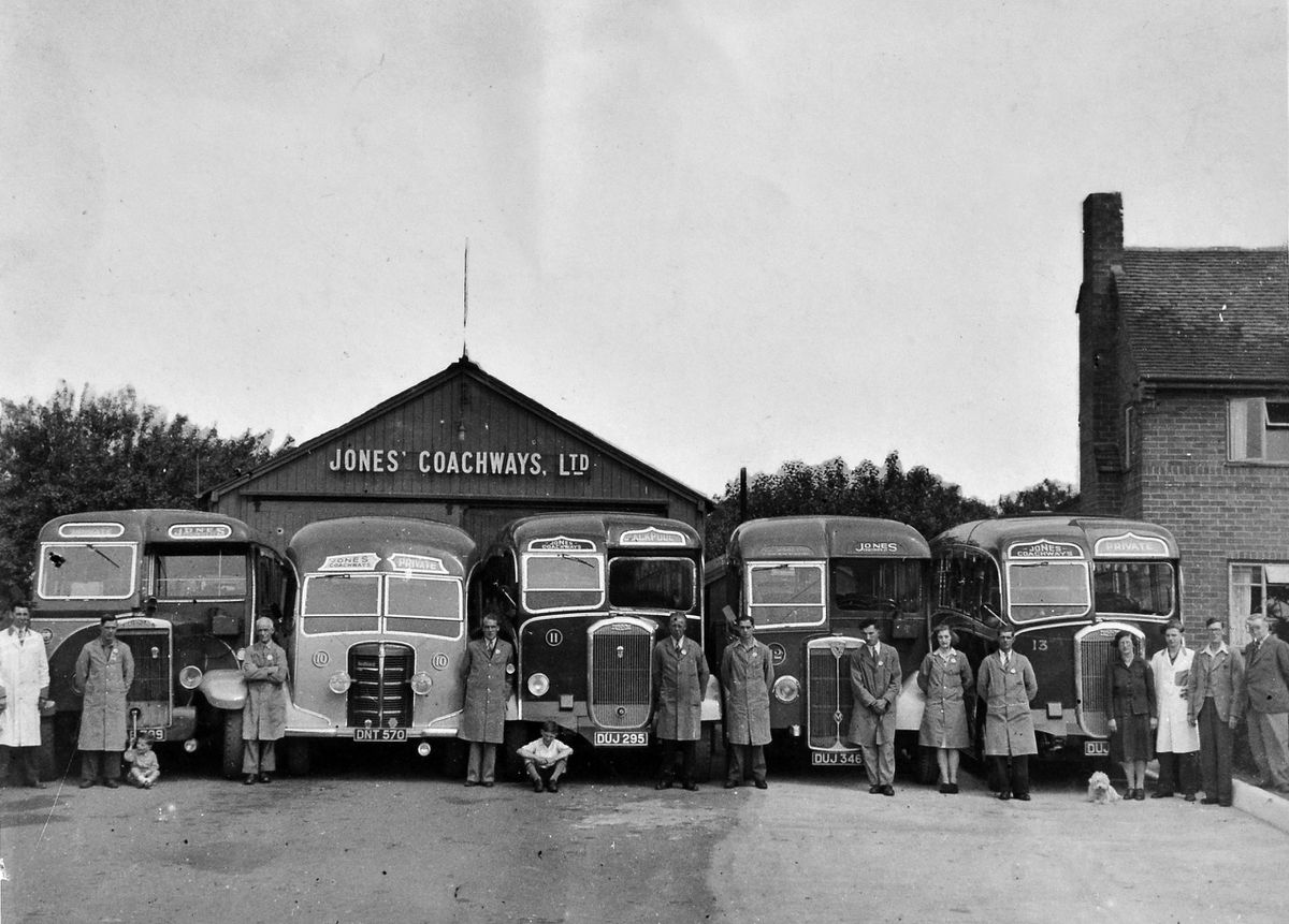A line up of old buses and old coaches for Jones Coachways Ltd, along with staff. One of them has Blackpool on the destination board. This was taken pre-1953 at the firm's garage at Wistanswick, near Market Drayton. The firm was founded in 1926 by Vernon Jones, whose father had a blacksmith's shop in the village. The garage moved to Shropshire Street, Market Drayton, in 1953.