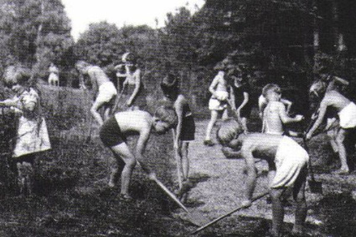 Children work on the land at Trench Hall