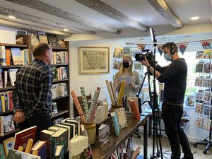 Eaves & Lord bookshop, in Montgomery, was visited by a film crew