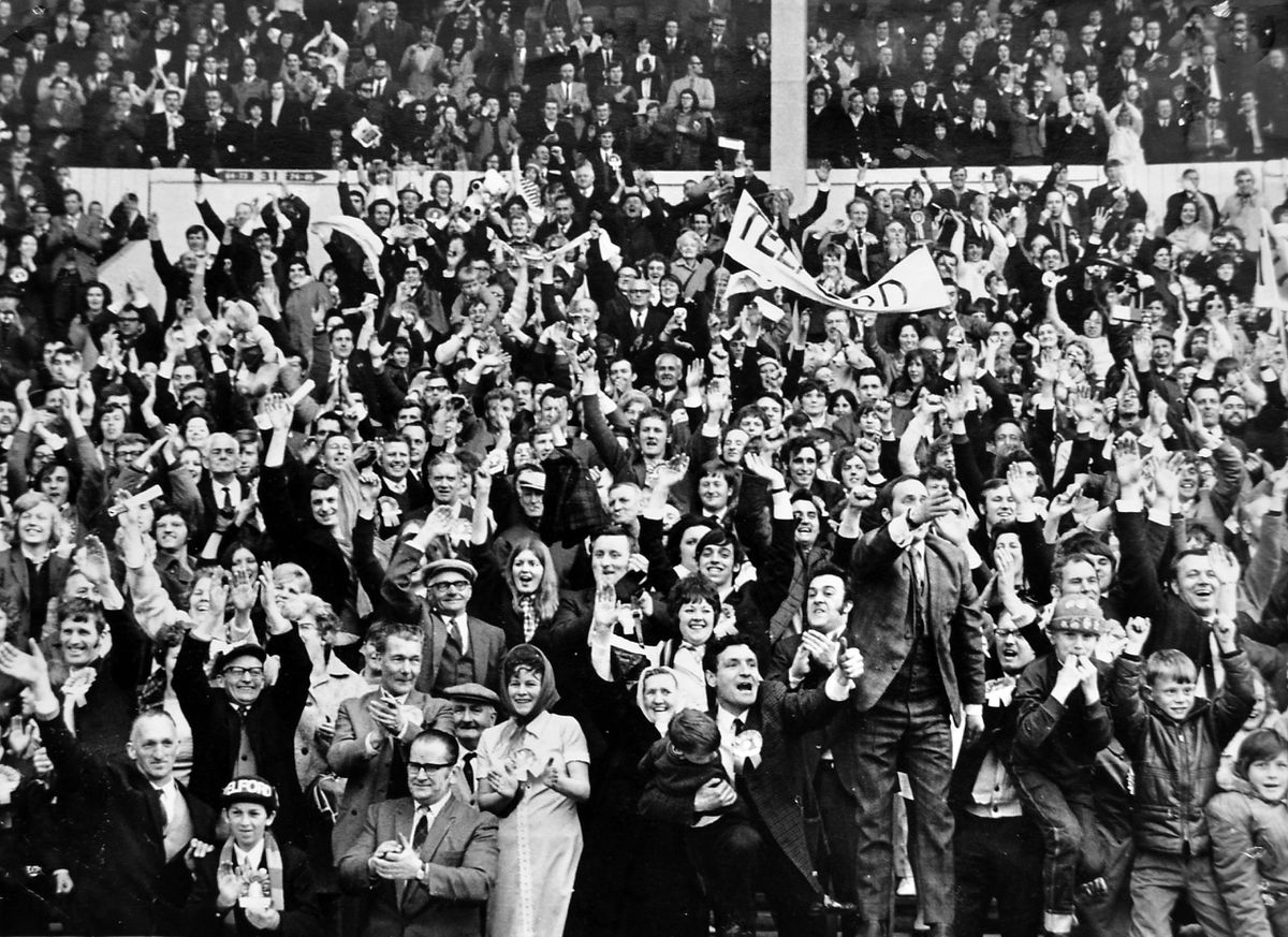 Some of the massive Telford crowd cheering their team as they parade round the Wembley pitch after winning the FA Challenge Trophy on May 1, 1971.