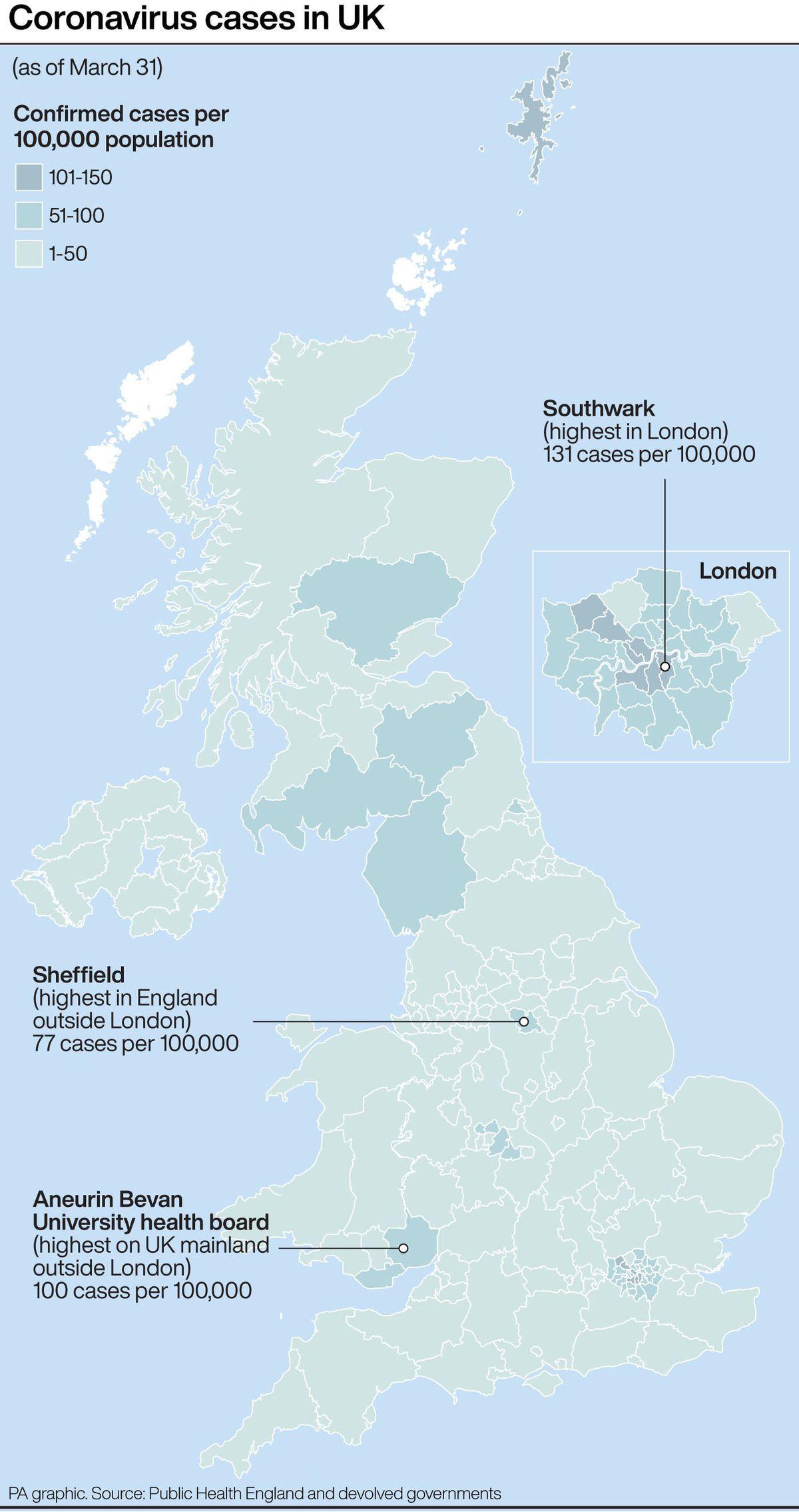 Coronavirus cases in the UK. Infographic PA Graphics